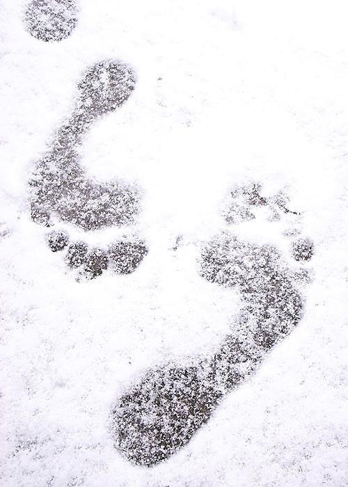 はだしの足跡@雪の上